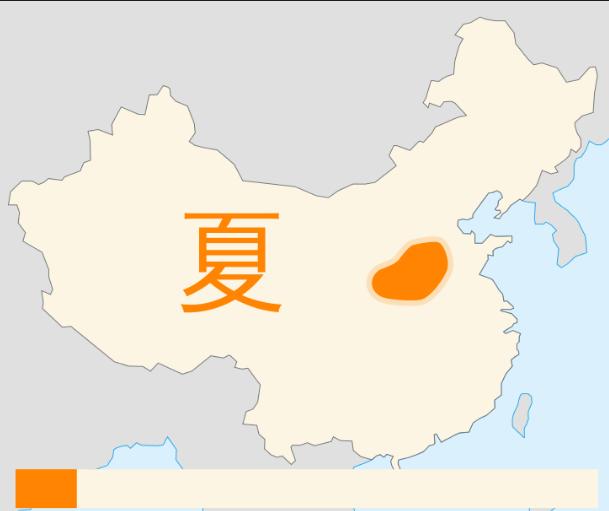 Extensión territorial de la primera dinastía de China: dinastía Xia.
